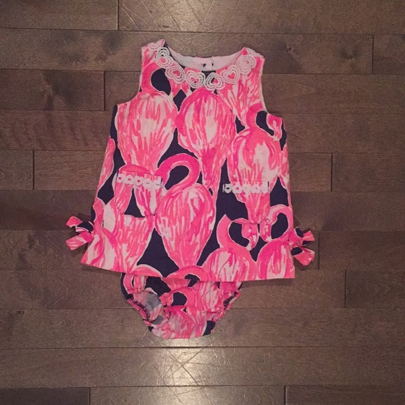 06f16490d3a238 Lilly Pulitzer Other - Lilly Pulitzer Baby Shift Dress Pink Flamingos